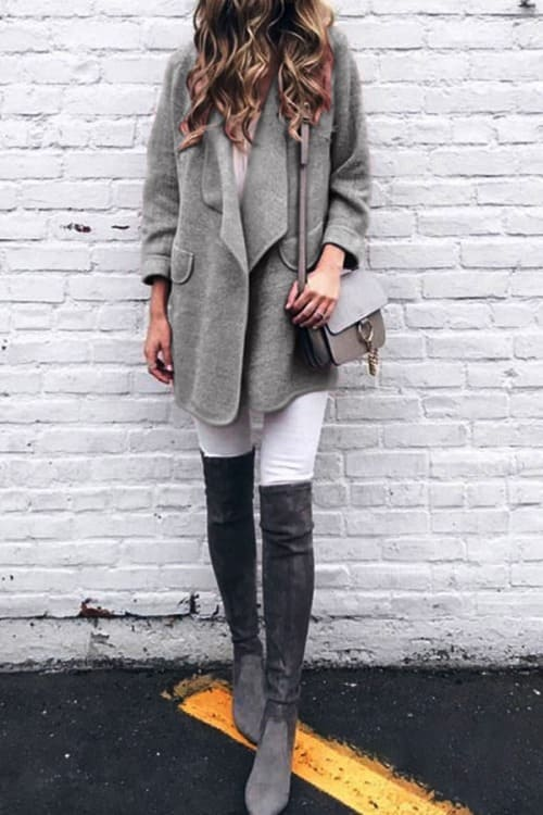 Grey Loose Warm Coat