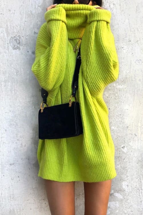 Loose Long Sweater Dress with Turtle Collar