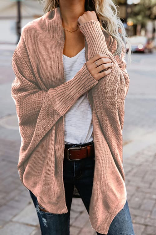 Rose Cardigan with Asymmetric Hem and Batwing Sleeves
