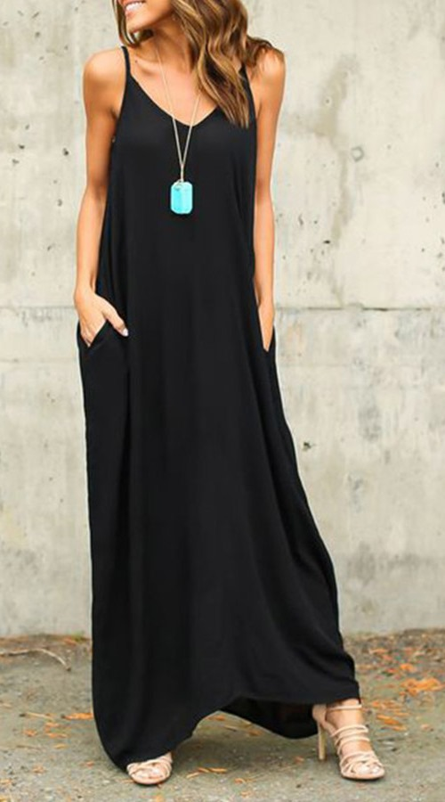 A Basic for Summer - Loose Black Maxi Dress with pockets