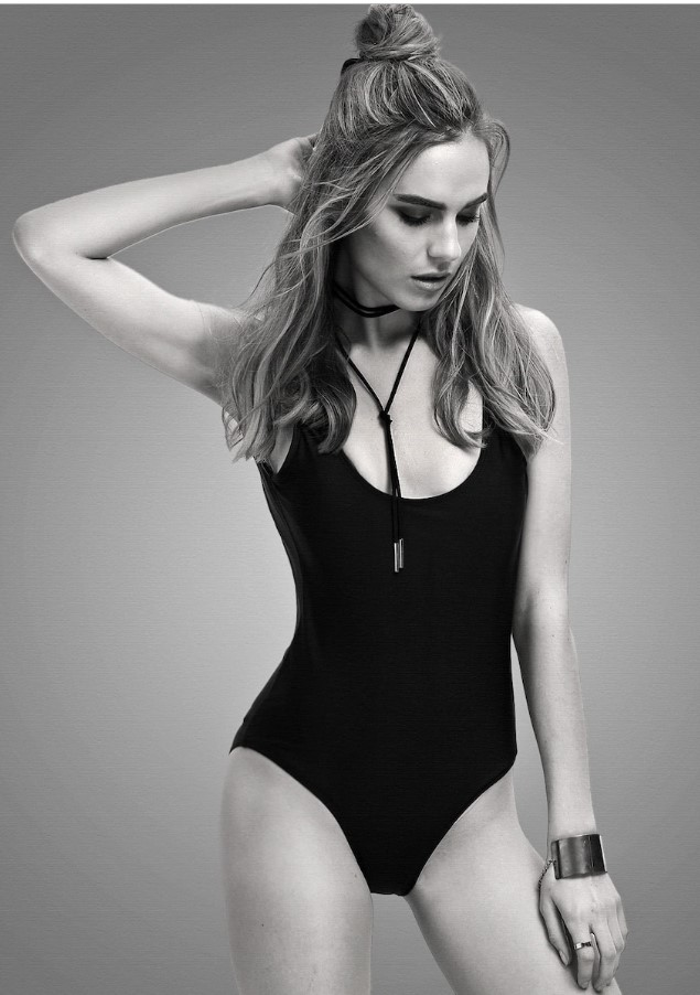 Classic Black Open Back One Piece Swimsuit
