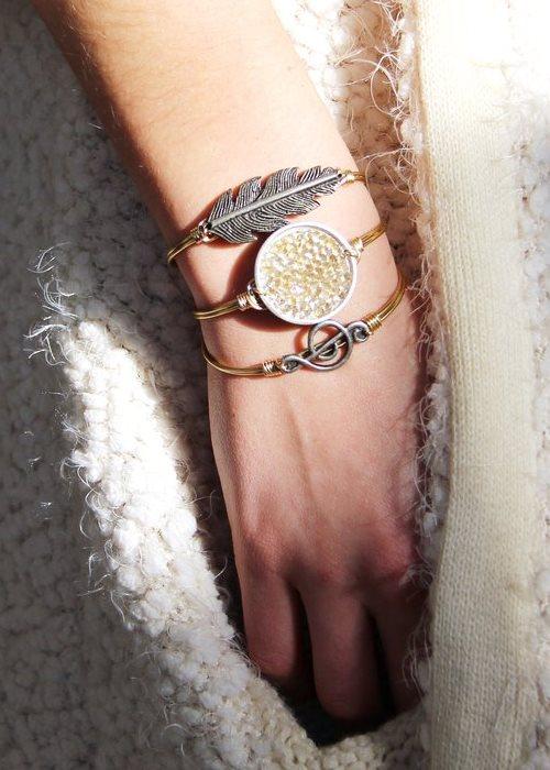 Druzy bangle bracelet In metallic champagne