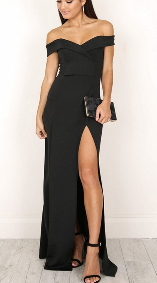Elegant Off-Shoulder Long Black Dress with Slit