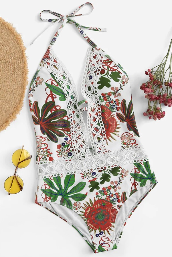 One-piece swimsuit, the print style reminds me of traditional Mexican embroidery.