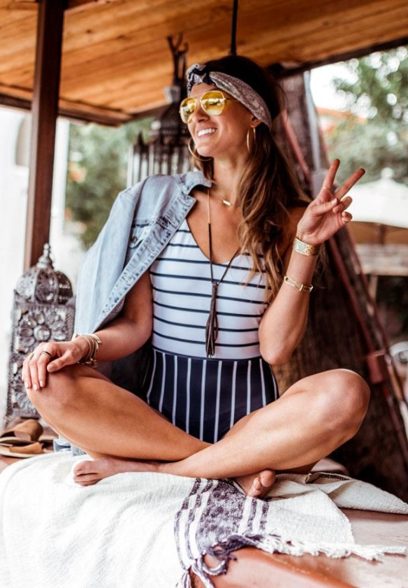 Stripe One-Piece Swimsuit