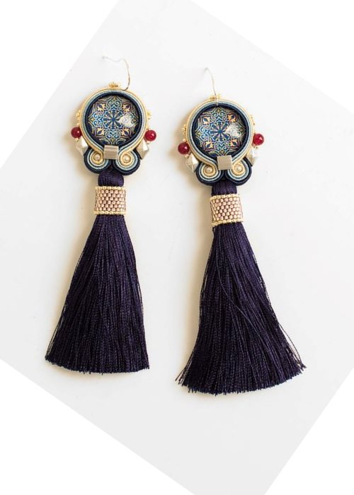 bohemian long tassel earrings with mandala