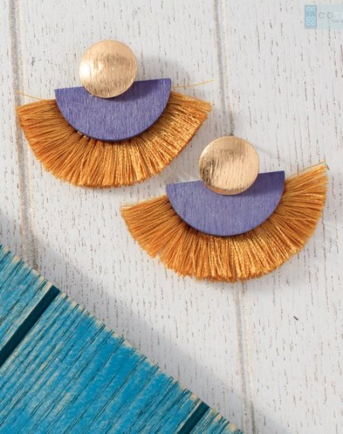 half circle tassel earrings in spring colors