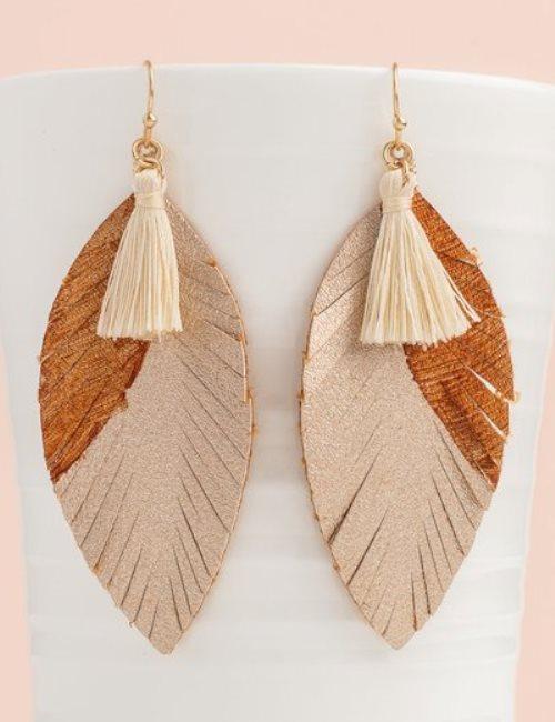 leaf leather earrings with tassel. i love it!
