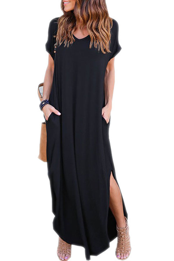 loose black maxi dress #summerlook #summeroutfit #blackdress