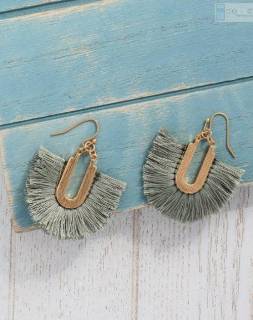 lovely olive green tassel earrings in arch shape