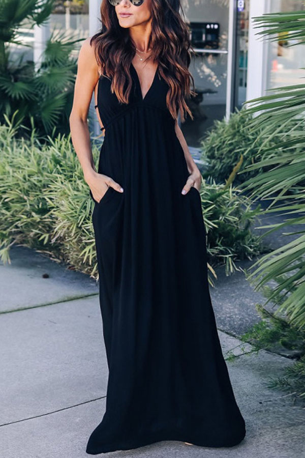 maxi casual black dress with a sexy back