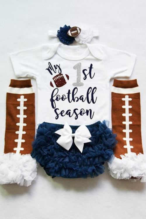 my 1st football season - my first football season - baby girls football outfit - baby football jersey -baby girls football bodysuit