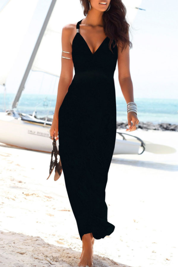 sexy date night black dress with metallic details