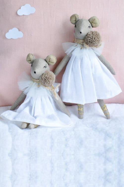 Ballerina Mouse Rag Doll, Mouse Princess Cloth White Linen Heirloom Doll, Stuffed Animal Toys Christmas Gift for Girl