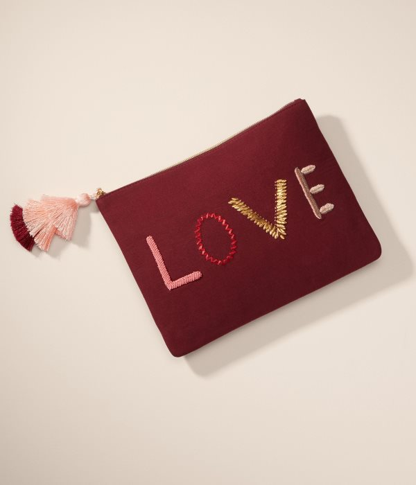 Beautiful embroidered LOVE pouch