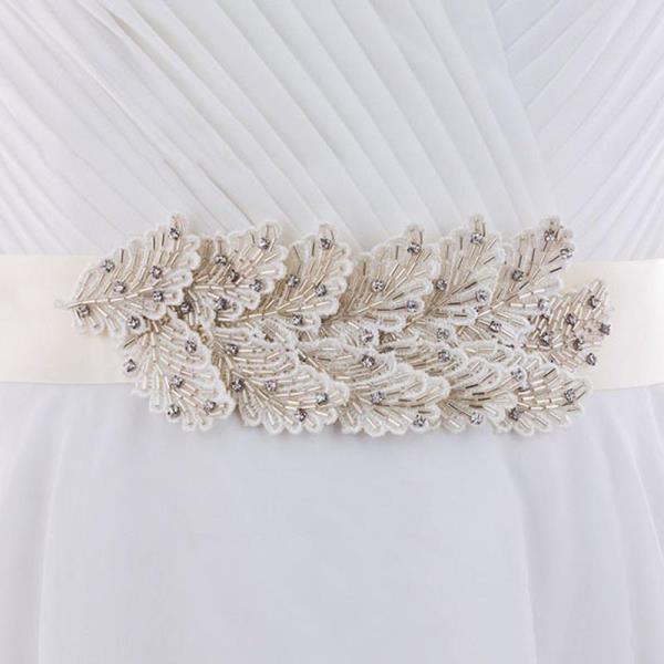 Beautiful feather wedding belt beaded with diamonds