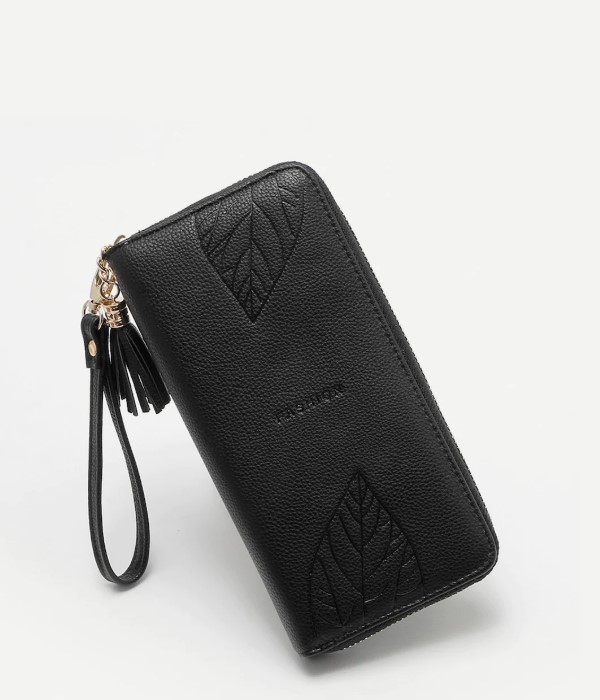 Black Zipper Wallet with Tassel and Leaf Detail