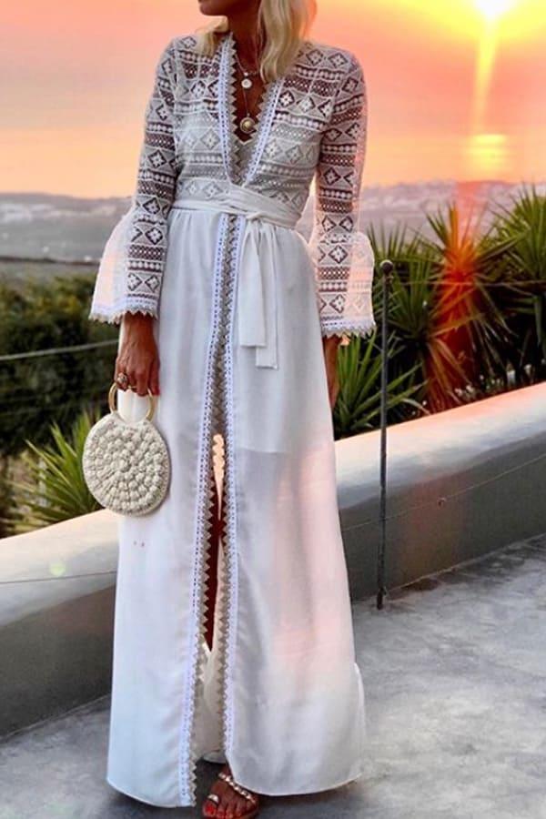 Bohemian Long Lace Cardigan