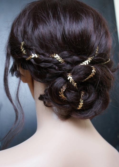 Bridal headpiece in Gold - Wedding Hair Accessory - Gold Hair chain - Bohemian Bridal Hair Accessory