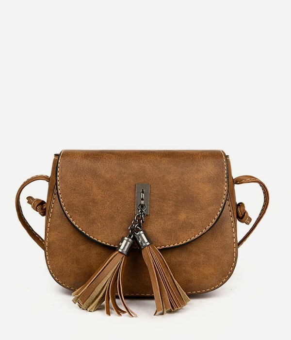 Casual Brown Crossbody Bag with Double Tassel