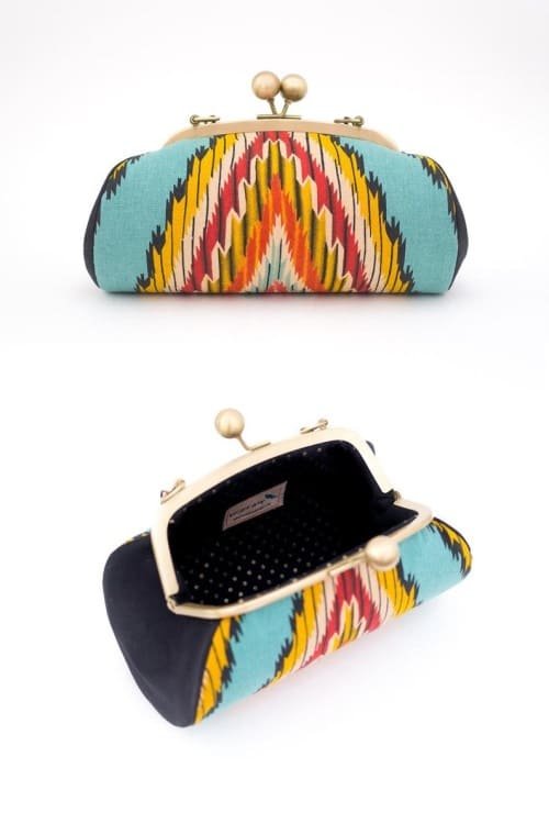 Colorful Tribal Clutch Purse, Boho Bag, Geometric Clutch with Strap, Metal Frame Kiss Lock Purse, Ikat Fabric, Ethnic Clutch, Gifts for her