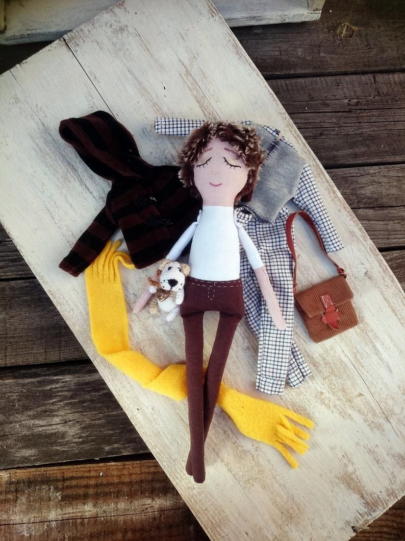 Eric Play doll with knitted dog Boy doll play set Doll with outfits Doll with clothes Cloth dress up doll doll Doll to dress