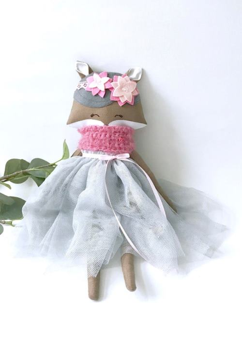 Fox Rag Doll, Fox Doll with tulle dress, heirloom fox doll, Girly fox Doll, Art doll fox, handsewn fox doll, fox doll flowers and pearls