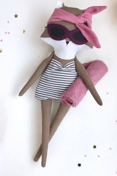Fox dress-up doll, hand-sewn rag doll, fox with clothes, French style doll,