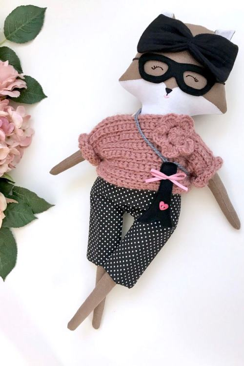 Fox dress-up doll Coco 40 cm, fashion doll with sweater and pants, hand-sewn rag doll, fox with clothes, fox doll in the French style