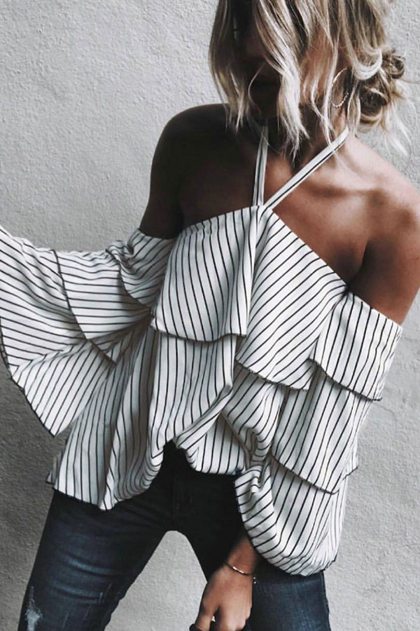 Hippy Chic Inspo - Halter Striped Blouse with bell Sleeves