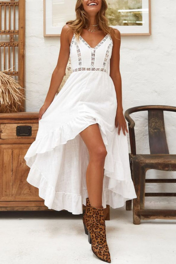 Hippy Chic Look - Lovely Hippy Chic Maxi Dress in white with asymmetric hem - Boho Chic Look