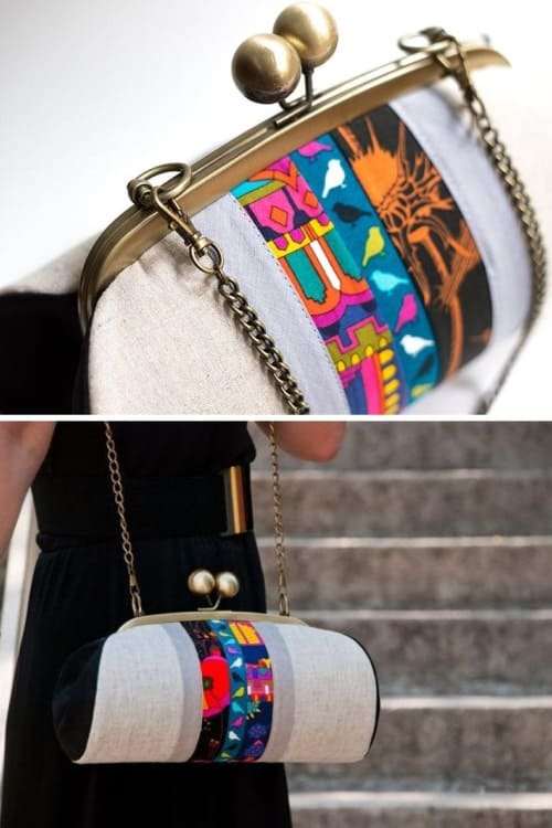 Large Boho Clutch Bag with Patchwork Details, Kiss Lock Clasp Purse, Colorful Clutch Purse with Strap, Evening Handbag, Unique Gifts for her2