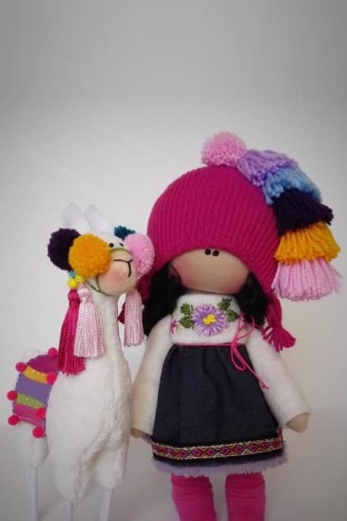 Llama stuffed & Rag doll handmade Nursery decor