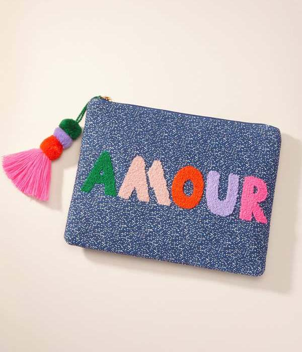Lovely AMOUR pouch wool embroidery and pom tassel