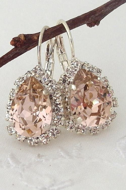 Lovely Bridal earrings, Blush Pink crystal teardrop earrings