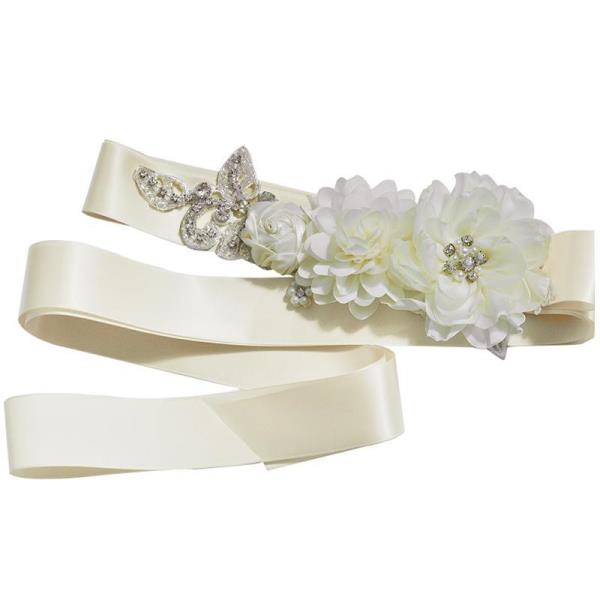 Lovely Satin-Flower-Pearl Wedding Belt