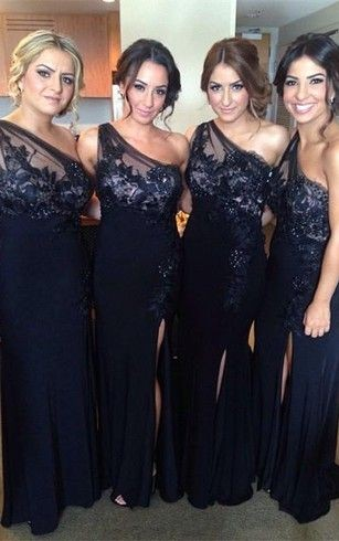 One-shaoulder lace chiffon black bridesmaid dresses with front split