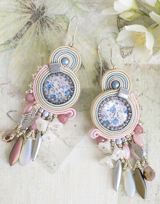 Pastel, romantic soutache earrings. Wedding earrings.