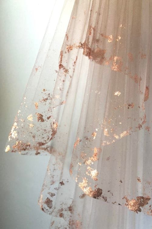 Rose Gold Bridal Veil, A delicately draped veil dripping in metal
