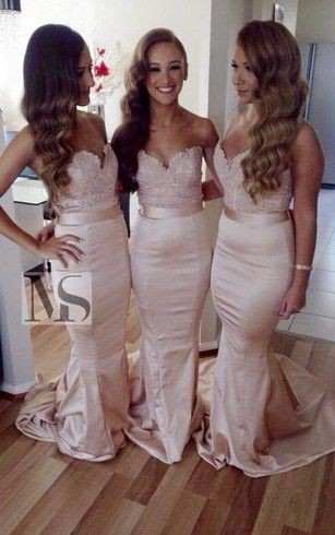 Sexy mermaid bridesmaid dresses with train and belt ... very cute in pale pink