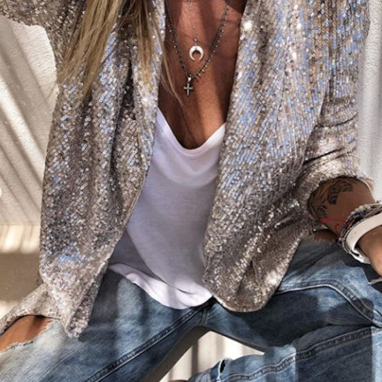 Silver Sequins Long Sleeve Cardigan