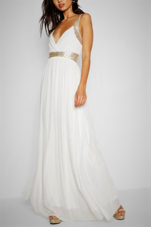 Simple wedding dresses that stand out with sparkling details - beautiful empire gown in white with sequin detail