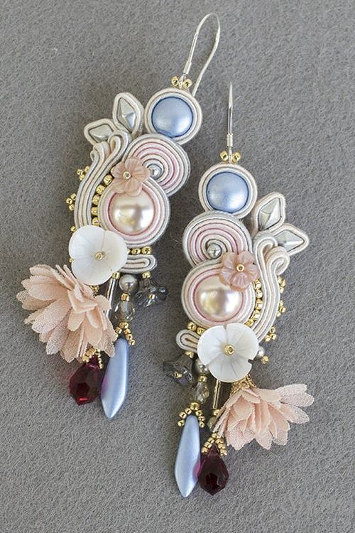 Wedding soutache earrings bridal - white, light pink and silver, light blue, very romantic and elegant.
