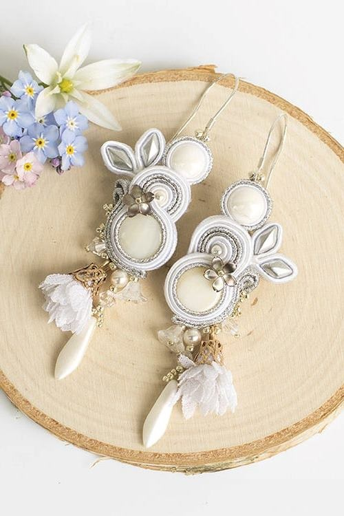 White bridal earrings, soutache earrings, wedding earrings, earrings bridal, white earrings, wedding jewelry, Snow Flowers