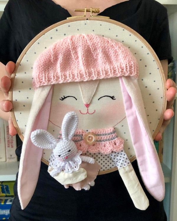 White bunny embroidery wall hanging, mixed media hoop art, rabbit embroidery hoop, nursery room decor, baby shower gift, easter decoration