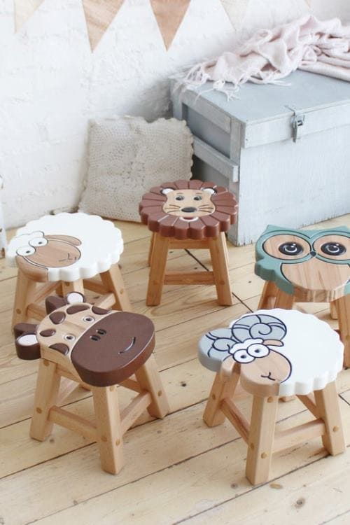 Wood Stool Wolf Stool Kids Wolf Stool Sitting Stool Hand Painted Wooden Stool Toddler Stool Wood Stool Wood Step Stool Child Step Stool