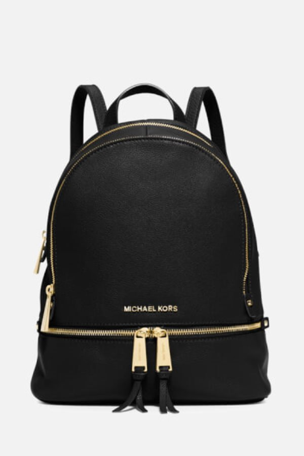 beautiful black backpack with golden zip