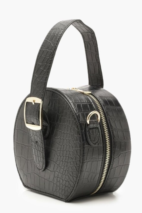 beautiful round grab handle bag in faux croc