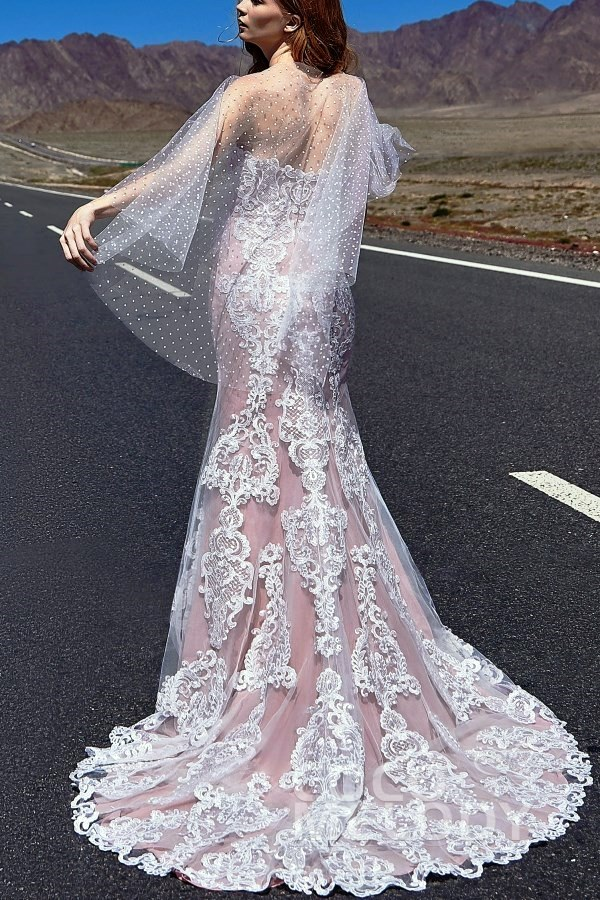 bohemian lace wedding dress with a lovely dotted tulle capelet