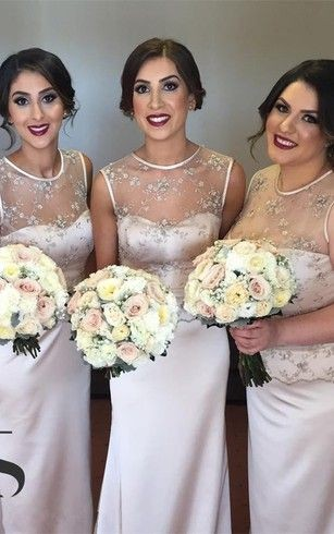 bridesmaid dresses with sweep train and delicate illusion appliques